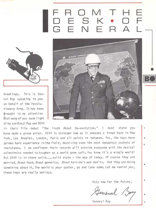 DEVO Letter From General Boy Film Project